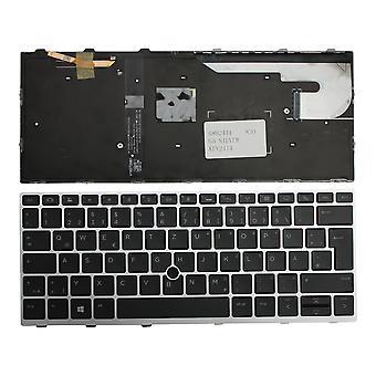 HP EliteBook 830 G5 avec pointeur Argent Cadre rétroéclairé Noir Windows 8 Allemand Disposition Remplacement clavier ordinateur portable