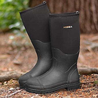 Hisea Men's Shoes Leather Cap Toe Knee High Safety Boots