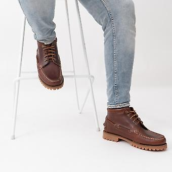 Sebago Ranger Mid Waxy Mens Leather Ankle Boots Brown Gum