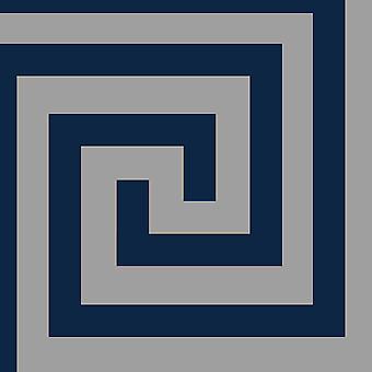 Athena Geometric Wallpaper Navy / Silver Debona 4009