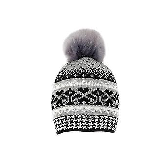 Fair Isle Knitted Hat with Pom Pom