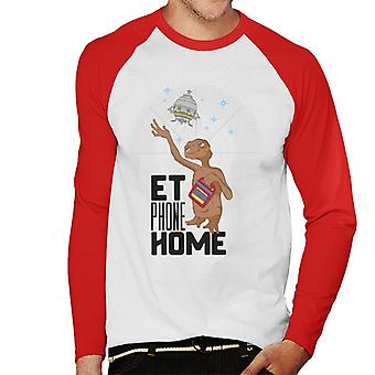 E.T. Phone Home Olhando para Spacecraft Men''s Baseball Long Sleeved T-Shirt