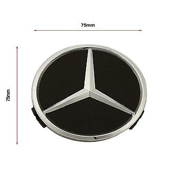 Black/Silver Star Mercedes Benz Wheel Center Cap Hub Badge 75mm 1 PCS For A B C E S G CLASS CLA CLS SLK ML AMG
