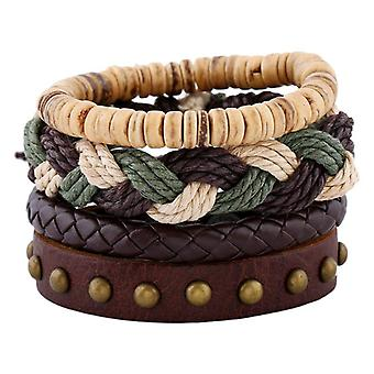 Böhmische Weben Hanf Seil Armband Vintage Multilayer Rindsleder Leder Armbänder