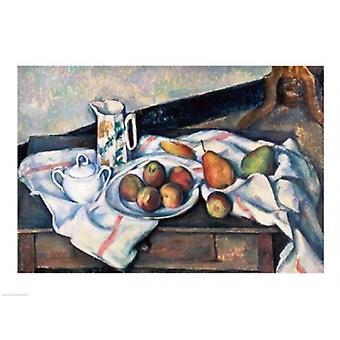 Still Life di pesche e pere stampa del manifesto di Paul Cezanne