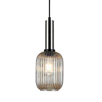 Italux Antiola - Moderno pendente appeso satinato nichel 1 luce con tonalità ambra, E27