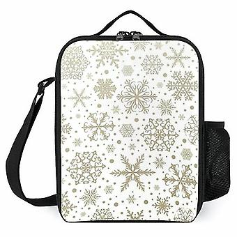 Christmas Snowflakes Printed Lunch Cooler Bags Insulated Lunch Boxes