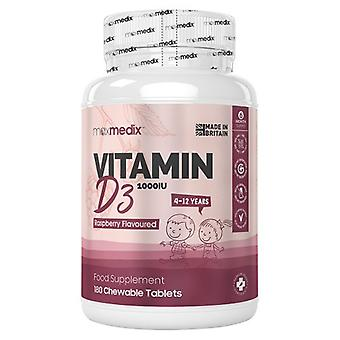 Vitamin D3 Chewable Tablets - Bone & Joint Maintenance - Natural Immunity Boost - For Kids 4-12 Years Old - 180 Raspberry Flavoured Tablets