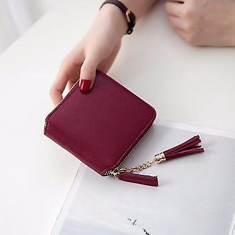 Wallet Short Pu Women's Purse Zipper Button Small Pocket