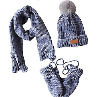 Batole Děti, Zimní žebrované Knit Teplé Pompom Čepice Čepice, Šátek, Rukavice Set