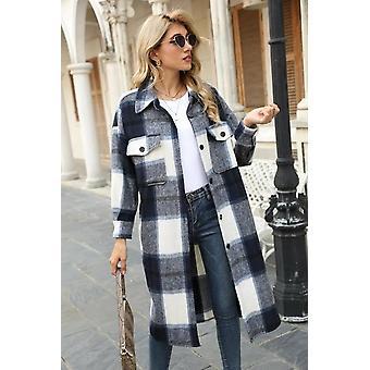 Kostkovaná vlněná bunda s dlouhým kabátem