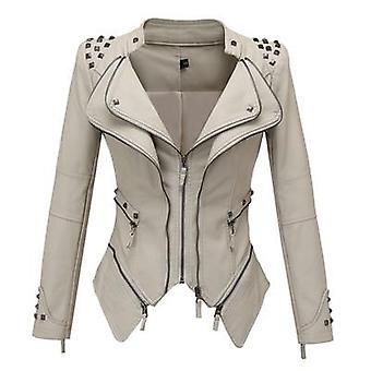 New Fashion Smooth Motorcycle Faux Leather Long Sleeve Biker Streetwear Coat