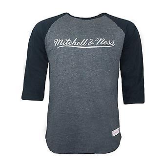 Mitchell & Ness Mens Raglan Tee Long Sleeved T-Shirt Black Heather