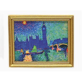 dukkene huset london stor ben bilde maleri gull ramme miniatyr tilbehør 01:12