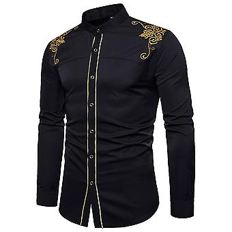 Men's Embroidered Long Sleeve Slim Fit Button Down Casual Party Shirt