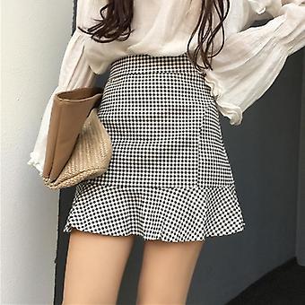 Women's Plaid High Waist Summer Retro Korean Style  Mini Skirt