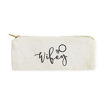 Wifey-cotton Canvas Pencil Case And Travel Pouch