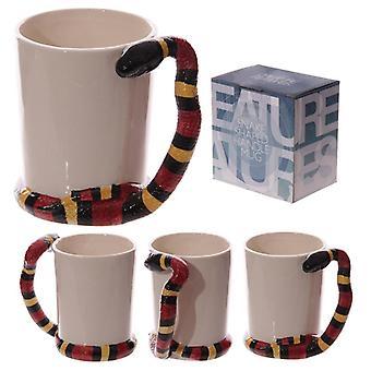 Hauska käärmeen muotoinen kahva vesi käärme keraaminen muki