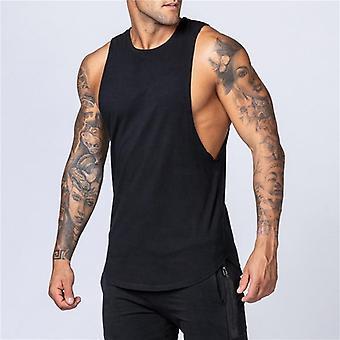 Workout Gym Mens Tank Top Vest, Muscle Sleeveless Sportswear Shirt, Stringer