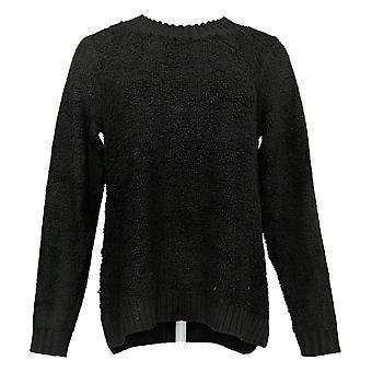LOGO By Lori Goldstein Women's Sweater Knit Mixed Media Black A385274