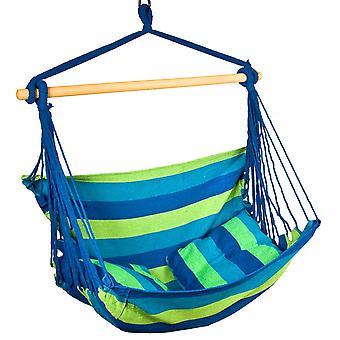 Hangstoel blauw/groen 100x100 cm - hangmat fauteuil - inclusief 2 kussens