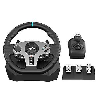 V9 Gaming Pedal Vibration Racing Steering Wheel  (black)