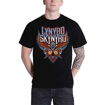 Lynyrd Skynyrd T Shirt Crossed Guitars band logo new Official Mens Black