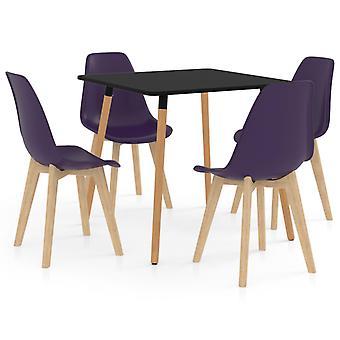 5 Piece Dining Set Dark Purple