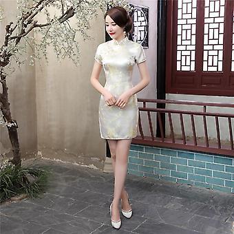 Klassische Hand Made Button Frauen Sexy schlanke High Slit Mini Kleid Exquisite Dragon