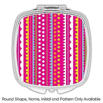 Miroir compact cadeau: Rayures Polka Dots Rose