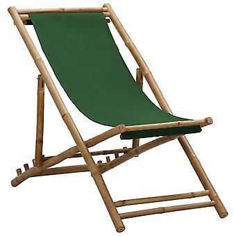 vidaXL deckchair bamboo and canvas green