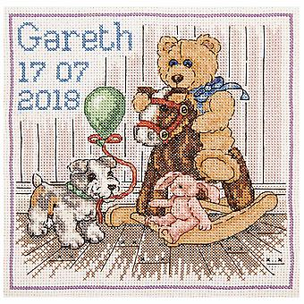 Ankare räknade Cross Stitch Kit: Essentials: Teddy Birth Sampler