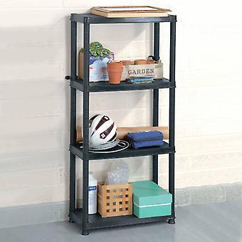 vidaXL tároló polc 4 rétegű fekete 61x30,5x130 cm műanyag