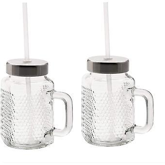 HanFei Kult X Mason Cup Set 2-teilig, Trinkgläser mit Henkel 450ml, Stohhalm und Deckel, zum