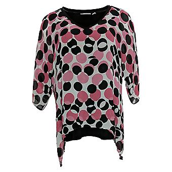 Susan Graver Kvinders Petite Top Printed Dolman Sleeve m/ Lining Pink A393752