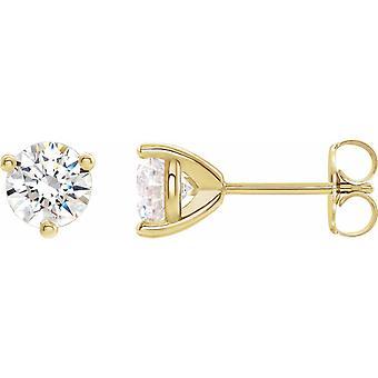 14k Gult Guld 6.5mm Runda Stuller Lab Skapade Moissanite Copyright Örhängen Smycken Gåvor för kvinnor