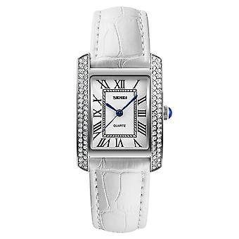 Skmei Reloj de mujer clásico romano genuino cuero piedras de cristal