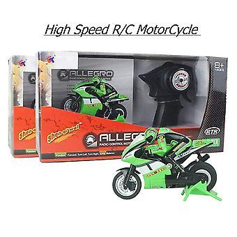 Motor Motocicleta Eléctrica Nitro Control Remoto Coche Recarga Moto Moto Bicicleta de Niño Juguete Regalo(Verde)