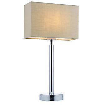 bord lampe forkrommet plate, taupe stoff rektangulær nyanse med usb stikkontakt