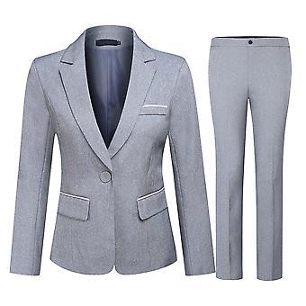 Allthemen Women's Formal Business Meeting Office Suit Two-piece Suit, One Buckle Slim Fit Blazer & Pencil Pants