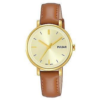 Pulsar PH8364X1 Damas marrón correa de cuero oro caso 50M Reloj