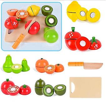 Fruit wooden velcro fruit cutting play food simulation toys set for toddlers dt5559