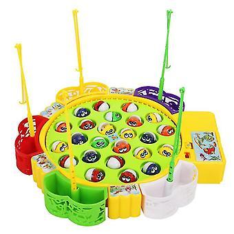 Batérie napájané zelené detské elektrické rotujúce rybárske hračky, detské interaktívne hračky pre rodičov a deti az10193