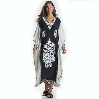 רקמה קיץ ביקיני לכסות את Suncreen V צוואר מודפס בגדי חוף Kaftan