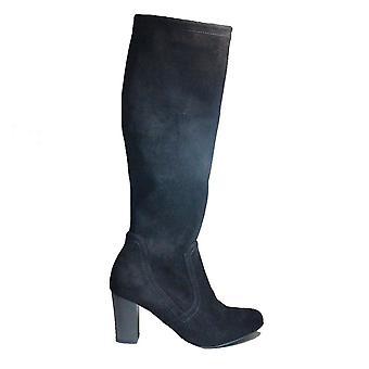Caprice 25502 044 Svart Velour Womens Dra på knä höga stövlar