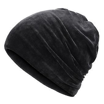 Neue Mode Glänzende Mütze, Herbst / Winter Weibliche Casual Hut, Schal (Black-A)