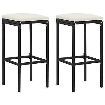 vidaXL bar stool with cushion 2 pcs. Black Poly Rattan