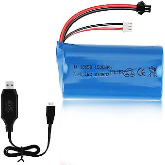 7.4V 1500mAh Batterie 15C SM Stecker mit USB-Ladegerät für RC Auto Boot Ersatzteile Zubehör
