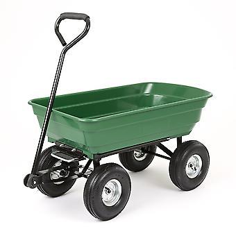 Garden Wheelbarrow Cart Heavy Duty 4 Wheel Trolley Tipper Truck Wagon 75L 250kg
