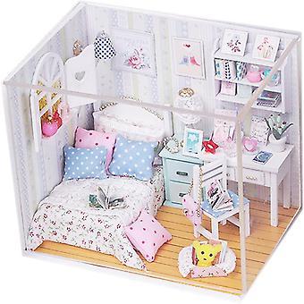 Kit de casa de muñecas de madera diy house con cubierta y sala de lectura de ocio ligero led